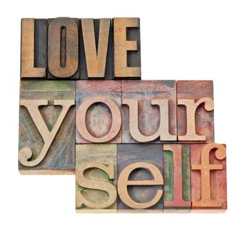 love u - love yourself in wood type